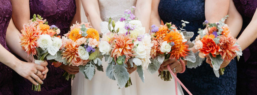 Photo of bridal party flowers.