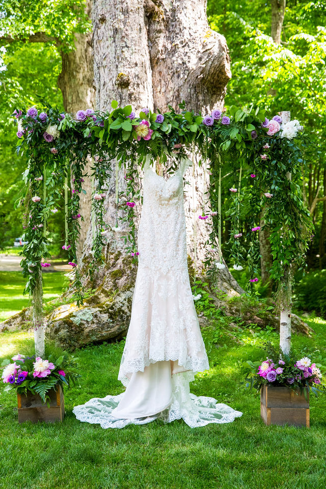 decorated wedding arch